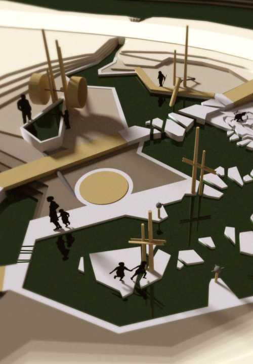 Entwurfskonzept eines Wasserspielplatzes auf der Hellersinsel in Schwarzenbach an der Saale, der aus Hochwasserschutzgründen nicht verwirklicht werden konnte