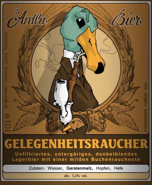 Bierflaschenetikett für ein Rauchbier der (link:http://www.antla.de/Joomla/ text: Brauerei Antla), Kronach