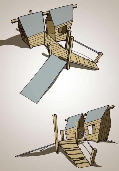 doppeltes Spielhaus mit Kletteraufstieg und Rutschebene, Entwurfszeichnungen für eine Kindertagesstätte
