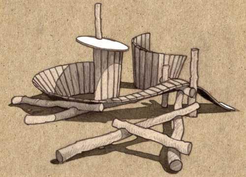 Entwurf eines Spielhauses mit Steg, Rutsche und Kletterstämmen
