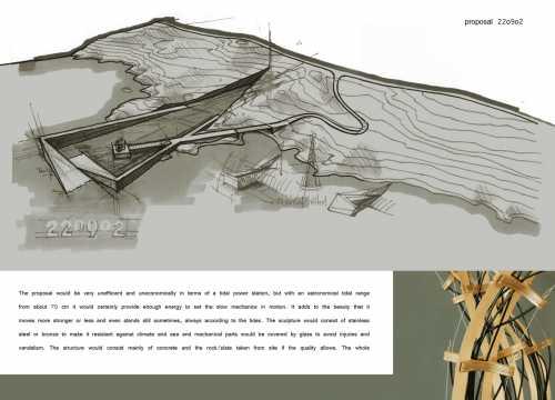 Entwurf eines Denkmals für Tsunamiopfer bei Oslo, Norwegen. In einem keilförmig in die Landmasse hineinragenden Becken, das von der Flut fegelmäßig überspült wird, befindet sich eine mechanisch-kinetische Wellenskulptur, die von der Energie der Gezeiten bewegt wird.