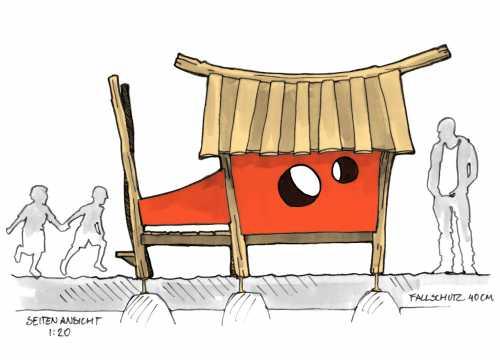 Entwurfsskizze für das Spielhaus Spielplatz