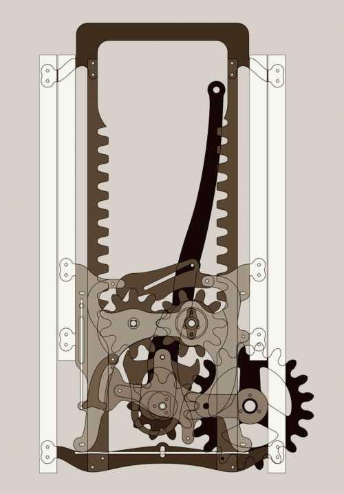 Mechanik mit Ratsche und Hemmung für einen höhenverstellbaren Schreibtisch; Die lasergeschnittenen Stahlteile werden an Verbindungsstellen in ein tragendes Holzgestell eingelassen. Die Mechanik , charakterisiert von rohem Eisen, groben Zahnrädern, Schrauben, Federn und Lagern ist sichtbares Element.