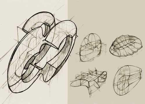 Handgezeichnete Illustrationen von Form- und Raumgebilden;