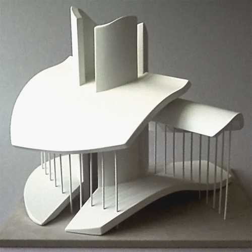Modell eines Pavillon, begehbare architektonische Skulptur, inspiriert von Knochenfragmenten;
