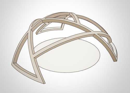 Lärchenholzkuppel für den Spielplatz im (link: http://www.zoo-hof.de/ text: Zoo Hof); Die Kuppel besteht aus drei identischen Segmenten aus jeweils drei wasserfest verleimten, gebogenen Brettschichthölzern, die sich gegenseitig stützen.